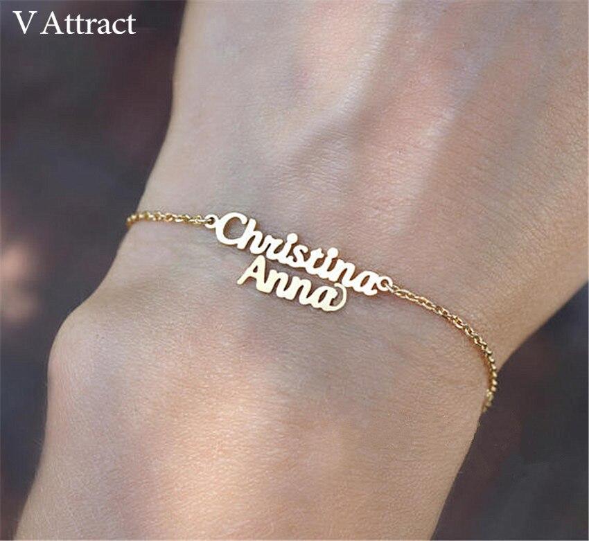 BFF Gift Personalized Two Names Bracelets & Bangles Women Men Custom Jewelry Body Gold Chain Double Name Bransoletki Damskie
