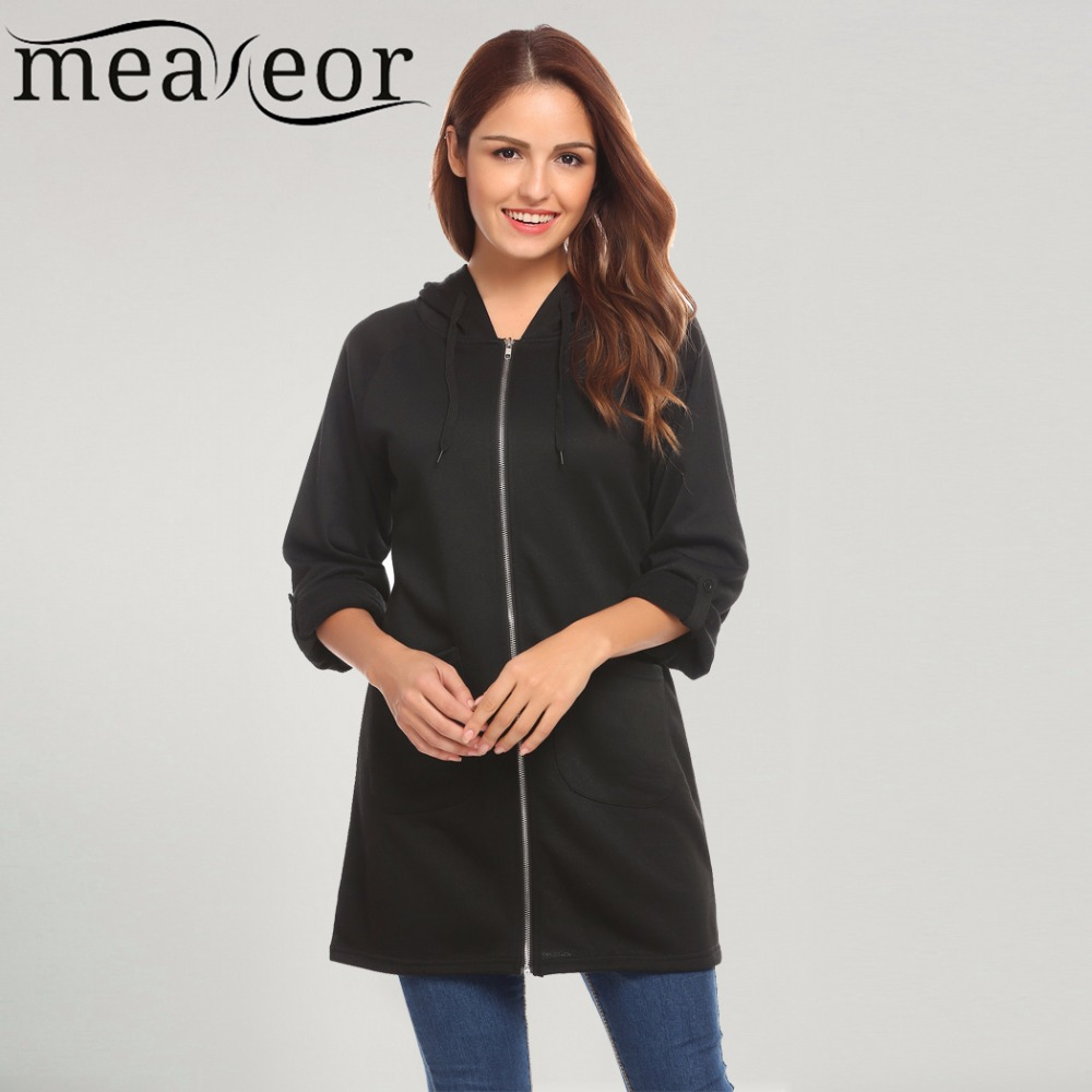 Meaneor Women's Hoodie Sweatshirt Drawstring Hooded Full Zip Solid Casual Long Hoodies Pocket Warm Loose Autumn Sweatshirts Tops
