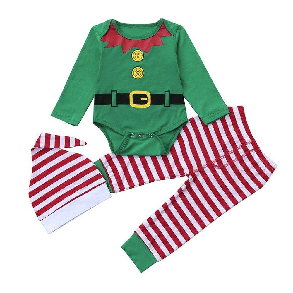 GRNSHTS Baby Boys Girls 3Pcs Christmas Pants Set Bodysuit + Striped Pants + Hat Kids Romper Cap Set Infant Gift Outfits