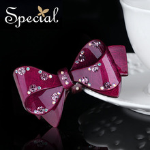 Special New Fashion Red Hair Pins and Clips Luxurious Rhinestones Hair Accessories Bowknot Hair Jewelry Gifts for Women FS16015