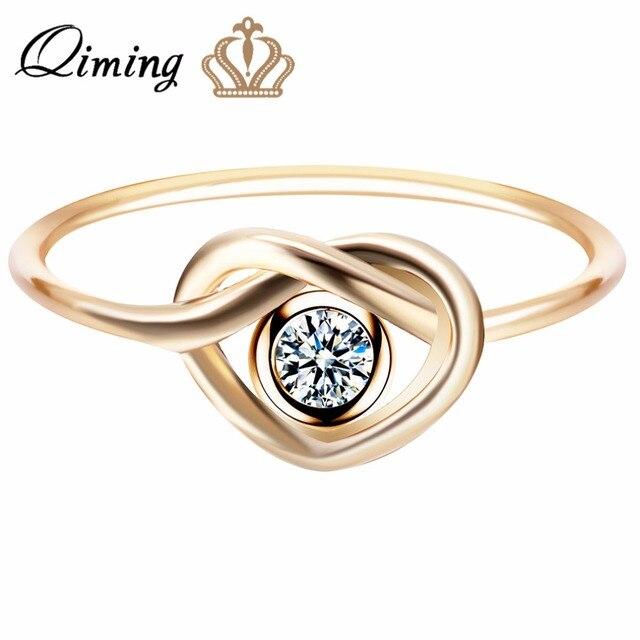 Qiming Wieczność Pierścionek Zaręczynowy Srebro Biżuteria ślubna