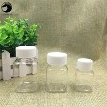 Darmowa wysyłka 30 ml 60 ml 80 ml Lucency plastikowe opakowanie na leki puste opakowania kwadratowy organizator butelki słoiki w nowym stylu pojemniki wielokrotnego napełniania