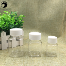 Free Shipping 30ml 60ml 80ml Lucency Plastic pill Empty Packaging Square organizer Bottles Jars New Style Refillable Containers