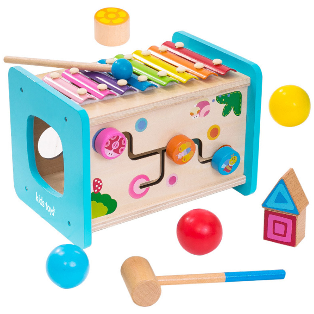 Kids Wooden Montessori Toys Xylophone Intelligence Box Match Building Block High Quality Match Cognition Building Block