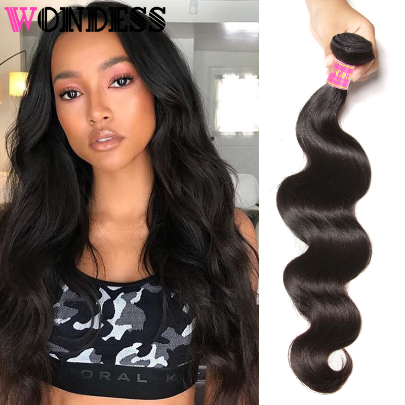 Wondess Hair Peruvian Virgin Hair Body Wave 1 Piece 8inch to 30inch Unprocessed Human Hair Extensions Natural Color Hair Bundles