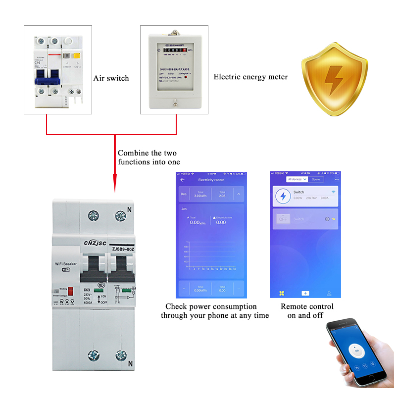 Image 2 - The second generation 2P WiFi Smart Circuit Breaker with Energy monitoring and meter function for Amazon Alexa and Google home-in Circuit Breakers from Home Improvement