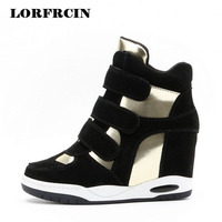 Hook Loop Flat Platform Shoes Srping Autumn Casual Shoes Thick Bottom Warm Height Increasing Heel Shoes