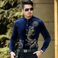 Men's Casual  Slim Fitted Long Sleeved Dress Shirt Tattoo Design Velvet Dragon Pattern Print Stand Collar Shirts Soft Feel Good
