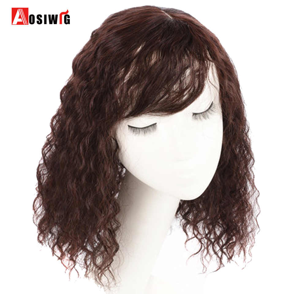 AOSI sintético pelucas pelo Topper postizos negro marrón resistente al calor rizado Natural superior Clip con flequillo cierre de las mujeres