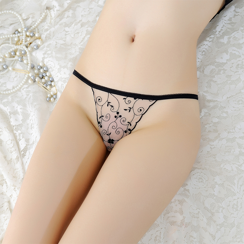 Underwear Women Transparent   Panties   Thongs Famale G Strings Tangas Sexy Lace embroidery Low Waist Underpant Femme Calcinhas