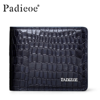 Padieoe Luxury Crocodile Pattern Genuine Cow Leather man Wallet Business Leisure Wallets Fashion Durable Leather Blue Wallets