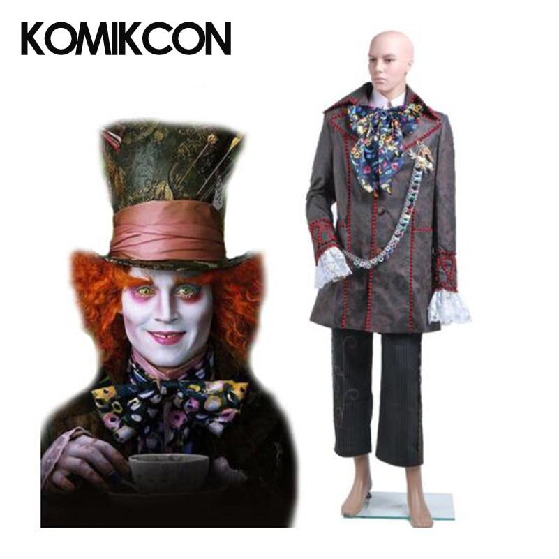 Alice In Wonderland Cosplay Johnny Depp Mad Hatter Costume Man Suits Halloween Christmas