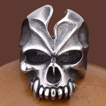 Gothic skull ring male personality vintage punk ring non-mainstream titanium steel ring as gift free postage