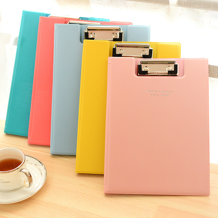 Candy Color Multifunction Leather Folder File Clipboard A5 Student Writing Clip Board For School & Office 9002