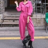 Vintage Fashion Jumpsuit Romper Women belt Pockets Button Jumpsuit Casual 2019 Spring Long Sleeve Jumpsuit Female Rose Overalls
