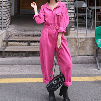 Vintage Fashion Jumpsuit Romper Women belt Pockets Button Jumpsuit Casual 2019 Spring Long Sleeve Jumpsuit Female Rose Overalls