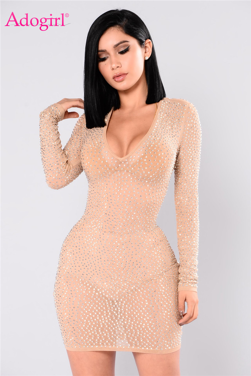 Adogirl Sexy See Through Diamonds Bodycon Club Dresses