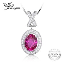 Jewelrypalace 2.7ct clásico óvalo creado zafiro rosa de halo solitario collar colgante plata de ley 925 45 cm cadena para las mujeres