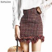 KoHuiJoo 2018 D'hiver Femmes Sexy Court Étudiant Jupe Mince Gland Plaid Mini Tweed Jupe Filles De Mode Serré Uniforme Jupe Japon