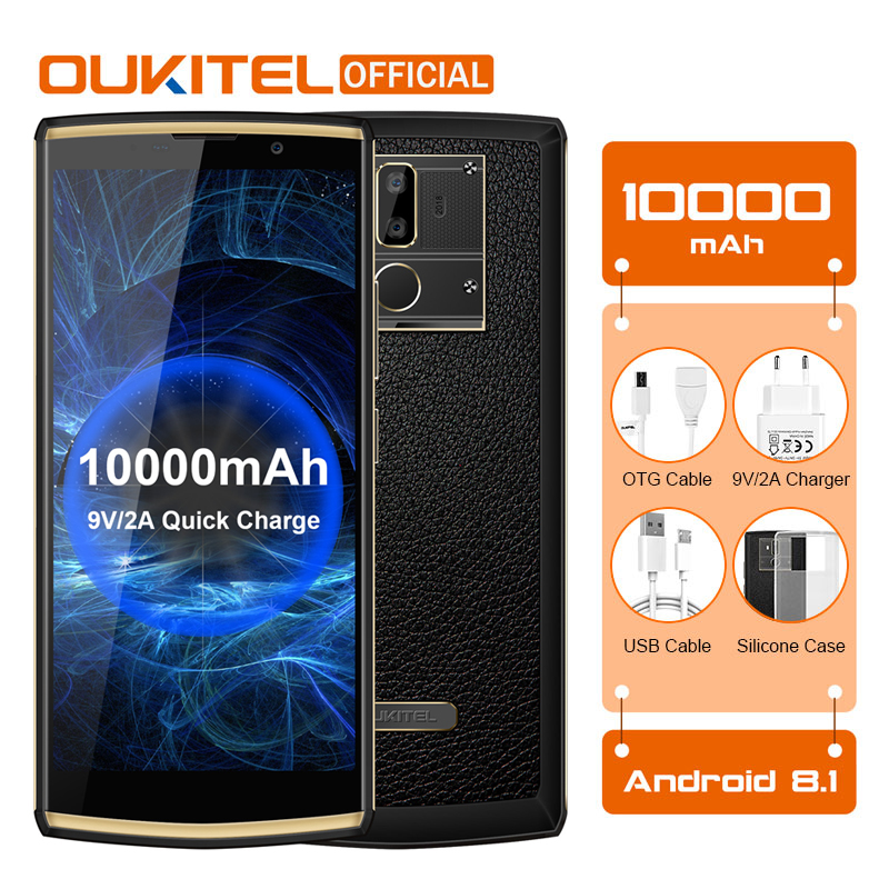 OUKITEL K7 Android 8.1 Phone 6.0″ FHD+ 18:9 MTK6750T 4G RAM 64G ROM 10000mAh 9V/2A Quick Charge 13.0MP Fingerprint Smartphone