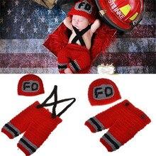 Ручной работы крючком ребенка Пожарный наряд новорожденных реквизит для фотосессии вязаный детский костюм Новогодний костюм Baby Shower подарок mzs-15037-t