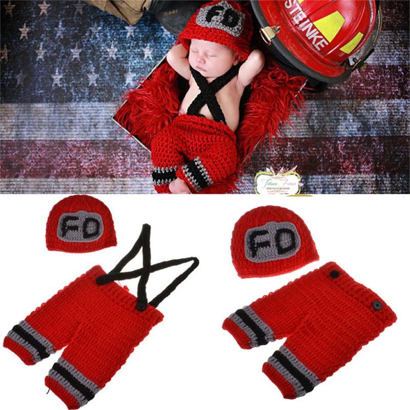 Handmade Del Bambino Del Crochet Fireman Outfit Puntelli Foto Neonato Maglia Del Bambino Costume Di Natale Outfit Baby shower Regalo MZS-15037-T