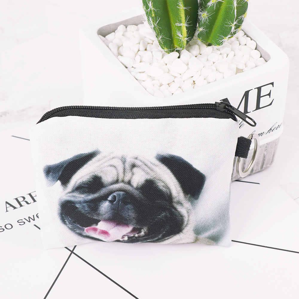 1 PCS เด็กน่ารักการ์ตูนผู้หญิง Pug Dog Design ผู้หญิงกระเป๋าเหรียญผู้หญิงกระเป๋าสตางค์หูฟังคีย์การ์ดจัดเก็บข้อมูลกระเป๋า