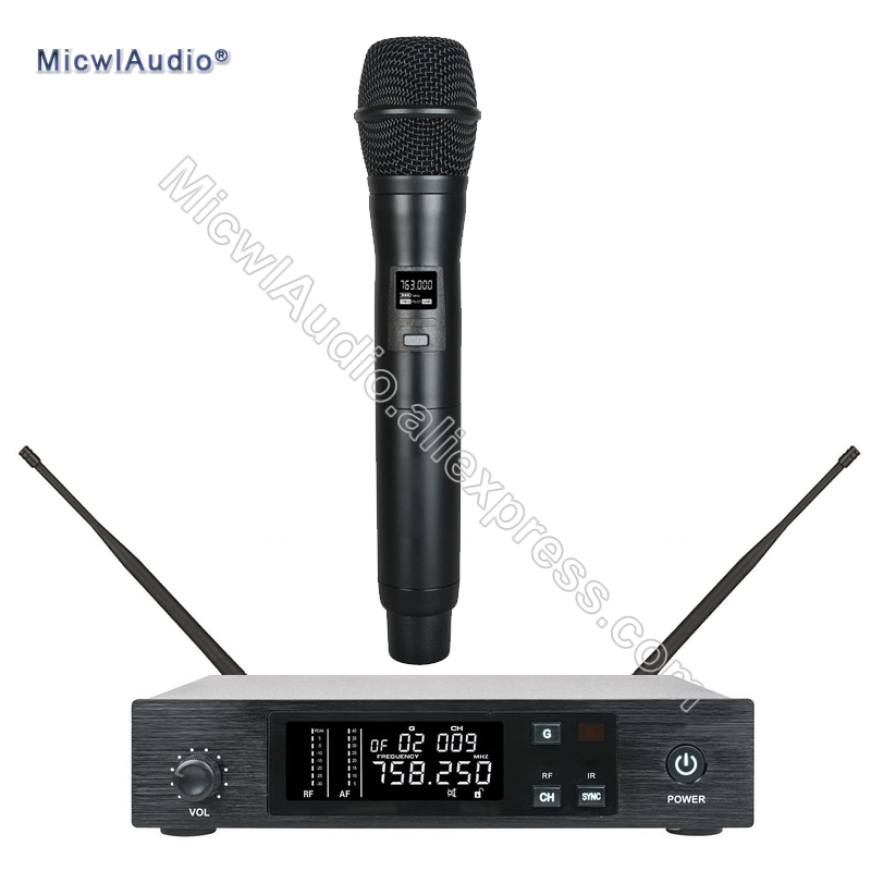 96 Channel Stage Performance Singing Radio Wireless Microphone UHF System Transmitter Sets With Handheld Black