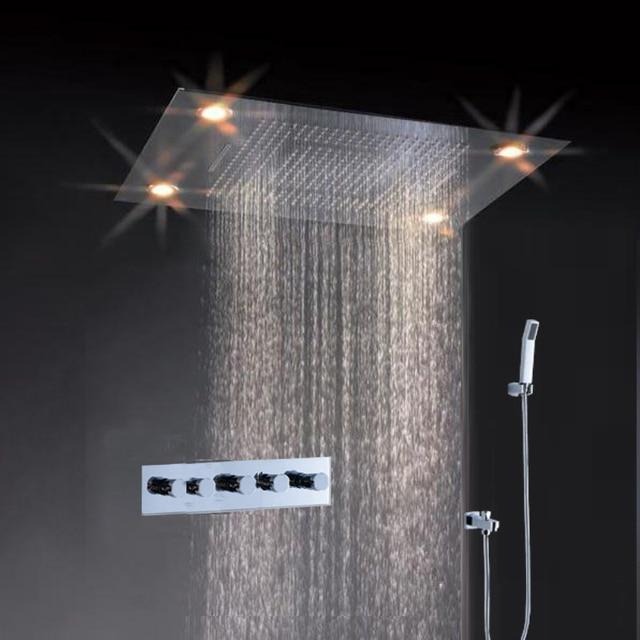 Best Seller Overhead Shower Embed Ceiling Rain And Waterfall Led Light Shower  Head Unit