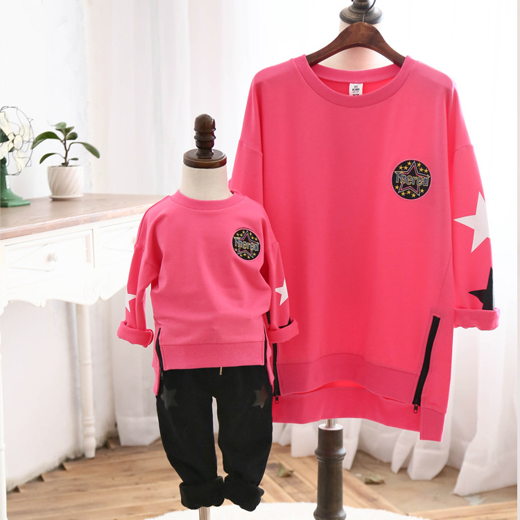 ФОТО Casual Cotton Sweatshirt Family Style Clothes Mother/Mom Daughter Son Clothes Family Set Boy Girl Star Tshirts Pink SC26