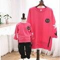 Casual algodón sudadera estilo familiar ropa madre / madre hija hijo familia ropa muchacha del muchacho de las camisetas de la estrella rosa SC26