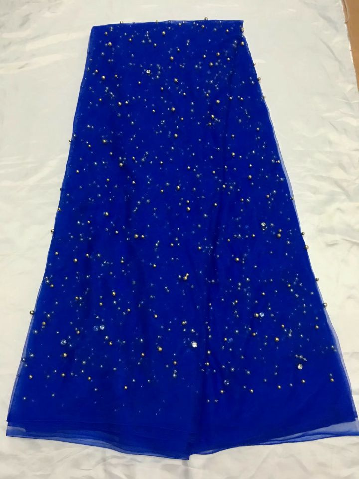 5 Yards pc Wonderful royal blue french net lace fabric with beads and crystal decoration african