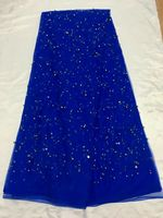 5 Yards/pc Wonderful royal blue french net lace fabric with beads and crystal decoration african mesh lace for dress QN61 2