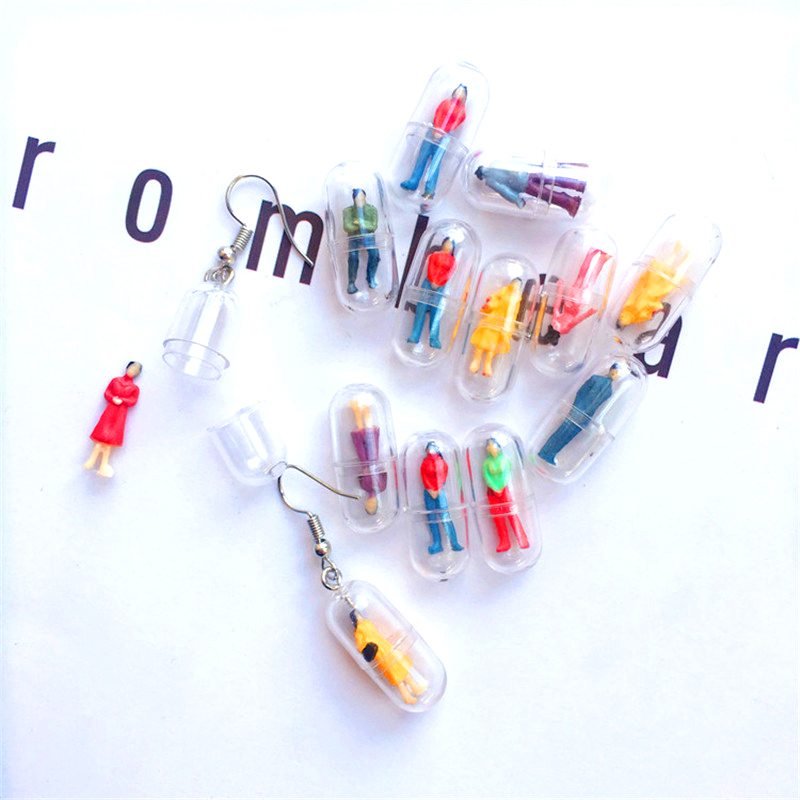 Personalized Cute Capsules Colorful Humanoid Fun Drop Earrings Female Creative Candy Earring Funny Jewelry Fashion Ear