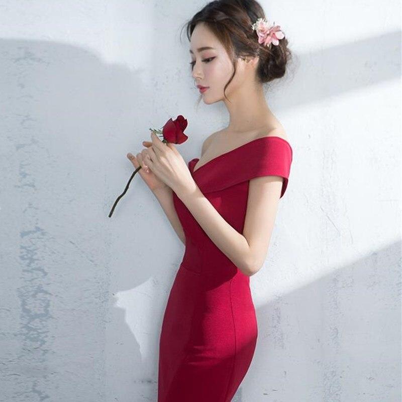 3c7abe9ede6 Robe de soirée sirène bordeaux Simple robe longue pas cher épaule dénudée  Sexy fente côté dames robe de bal de fête formelle dans Robes De Soirée de  ...