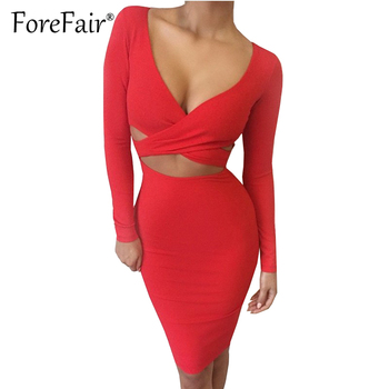 Forefair Sexy Criss Cross V Neck Bodycon Dress Women Autumn Winter Long Sleeve Night Club Wear Party Dresses Vestidos de festa