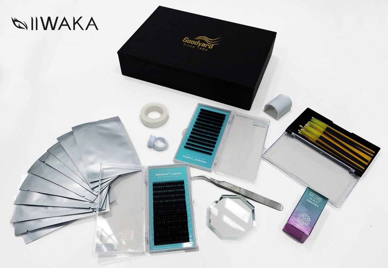IIWAKA NEW eyelashes extension kit for starter ,fashionable eyelashes extension set with glue ,eye pad , tape eyelahes brush