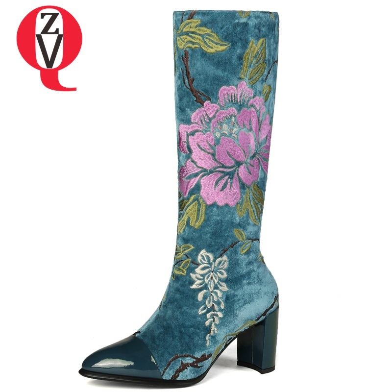 ZVQ new fashion embroider flock shoes women high hoof heels pointed toe zip boots women blue yellow winter warm knee high boots