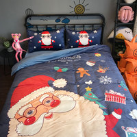 Christmas Santa Gift Snow Winter Design Twin Queen Double Pillowcase Duvet Cover Set Bedding Set 3/4Pcs Fale Velvet Fabric Warm