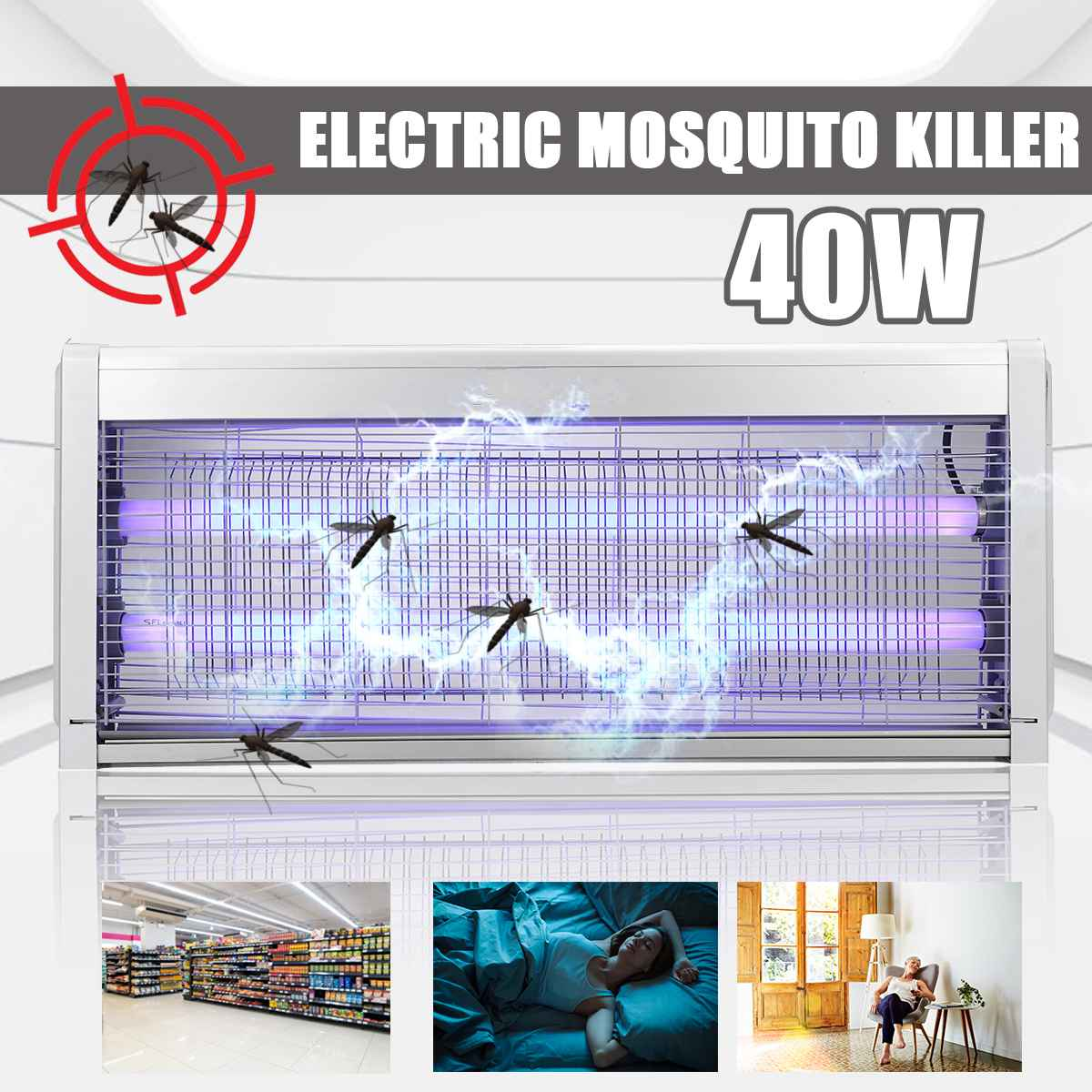 Anti Mosquito LED Light 20W 30W 40W Electric Mosquito Killer Fly Bug Insect Zapper Pest Trap Catcher Lamp Home Garden Supplies