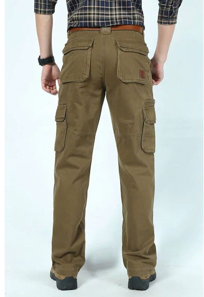 2015 New Autumn Winter Men\'s Cotton Cargo Long Pants High Quality Casual Straight Thick Pants Plus Size Trousers AFS JEEP 30~44 (2)