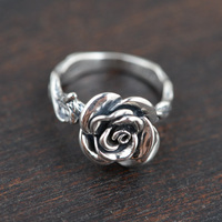 V YA 925 Sterling Silver Rings Vintage Rose Flower New Fashion 100 S925 Solid Silver Ring