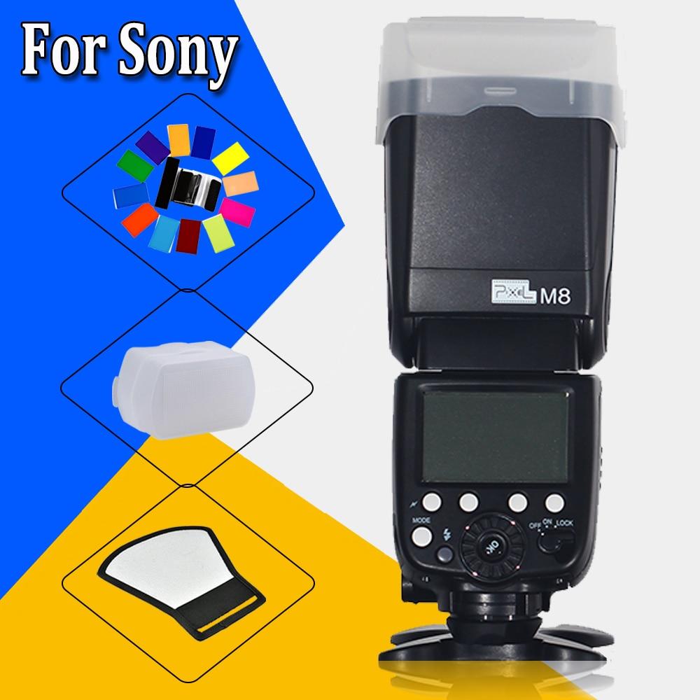 PIXEL M8 GN60 M/MUL Wireless LCD Display Screen Flash Speedlite For Sony A6000 A3000 A7s A7 NEX-6 A6300 A7r A7r II DSLR Cameras genuine meike mk950 flash speedlite speedlight w 2 0 lcd display for canon dslr 4xaa