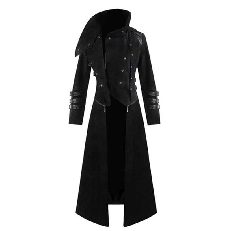 Laamei мужской Готический стимпанк Тренч с капюшоном костюм для вечеринки фрак куртка с длинными рукавами модные мужские куртки пальто Chaqueta Hombre
