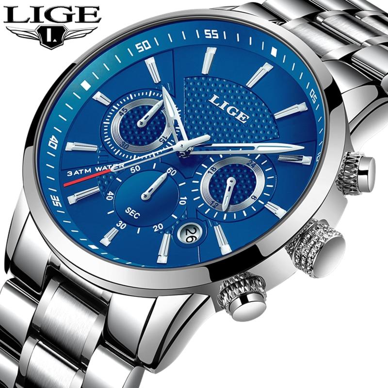 LIGE Luxury Brand Watches Men Fashion Sport Military Quartz Watch Men Full Steel Business Waterproof Clock Man Relogio Masculino-in Quartz Watches from Watches    1