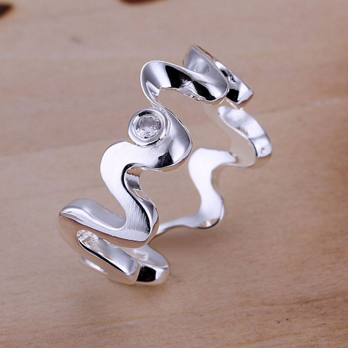 Wholesale 925 jewelry silver plated ring, silver plated fashion jewelry, Inlaid Waves Ring aoeajfla avwajnda LKNSPCR029