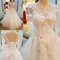 Long Sleeve A line V neck Lace Beaded Ivory Wedding Dresses Elegant Bride Dress Wedding Gowns 2018 New Design Custom Made XG04