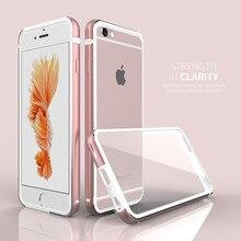 Marco de lujo 2 en 1 Doble Capa + de Plástico Duro Transparente caso trasero para el iphone 6 6 s 4.7 pulgadas de aluminio caso del hybird silicona cubierta