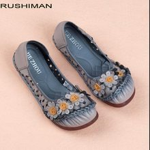 RUSHIMAN Genuine Leather Women Shoes 2018 Summer Hollow Casual Flower Single Shoes Handmade Soft Comfortable Flat Shoes(China)