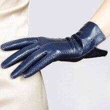 Womens Genuine Leather Gloves Female New Stylish Warm Plush Lined Autumn Winter Sheepskin Driving Mittens L085NC4